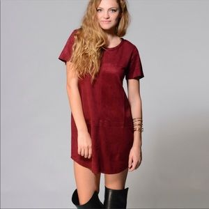 Olivaceous Burgundy Paneled Faux Suede Dress 🍁